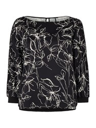 Marella Sospiro Long Sleeve Floral Print Top Black