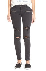 Junior Women's Vigoss Zip Detail Destroyed Skinny Jeans Black