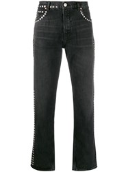 Martine Rose Studded Low Rise Straight Jeans Black