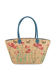 Franchi Floral Pattern Woven Tote Natural