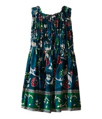 Burberry Stephie Printed Sleeveless Dress Little Kids Big Kids Dusty Teal Women's Dress Green