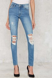 Nasty Gal Res Denim Kitty Skinny Jeans Faded Blue