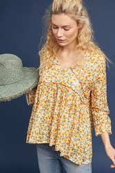 Ottod'ame Unica Peasant Top Yellow Motif