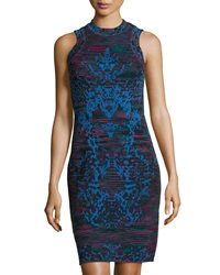 M Missoni Striped Sleeveless Fitted Dress Black Multi