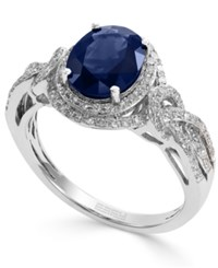 Effy Collection Royale Bleu By Effy Sapphire 1 9 10 Ct. T.W. And Diamond 1 3 Ct. T.W. Oval Ring In 14K White Gold Blue