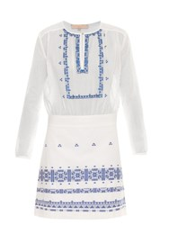 Vanessa Bruno Exo Embroidered Cotton And Linen Blend Dress Blue White