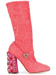 Dolce And Gabbana Jewel Heel Boots Pink