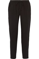 Splendid Mesh Trimmed Twill Straight Leg Pants Black