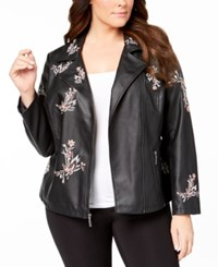 1d9e109812c39 Alfani Plus Size Embroidered Faux Leather Jacket Created For Macy s Small  Garden