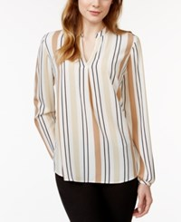 Charter Club Long Sleeve Striped Pullover Blouse Only At Macy's Cashew Crisp