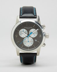 Simon Carter Leather Chronograph Watch With Grey Dial Black