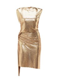 Paco Rabanne Gathered Chainmail Dress Gold