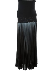 Herve Leger Herve Leger Pleated Semi Sheer Maxi Skirt Black