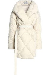 Pringle Quilted Wool Blend Down Coat Off White Off White
