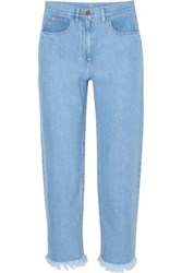 Nanushka Rupa Frayed High Rise Straight Leg Jeans Blue
