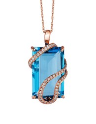 Levian 14K Strawberry Gold Vanilla Diamond And Ocean Blue Topaz Pendant Necklace 0.20 Tcw Rose Gold