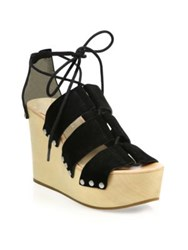 Loeffler Randall Ines Wooden Wedge Suede Platform Sandals Black