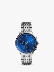 Fossil Fs5542 'S Chase Chronograph Date Bracelet Strap Watch Silver Blue