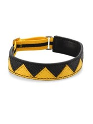 Prada Chevron Patterned Leather Bracelet Yellow Black