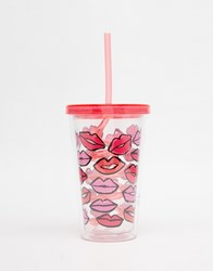 Paperchase Valentines Lips Drinking Cup With Straw Multi