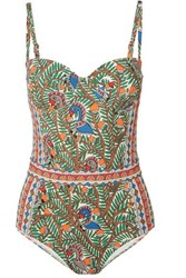 Tory Burch Printed Swimsuit Blue