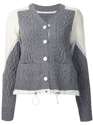 Sacai Two Tone Cable Knit Cardigan Grey