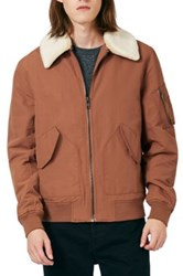 Topman Derby Flight Jacket With Detachable Faux Fur Collar Metallic