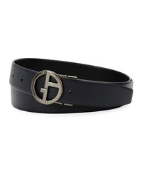 Giorgio Armani Logo Buckle Vitello Leather Belt Black Blue