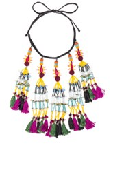 Etro Tassel Beaded Necklace In Purple Yellow Purple Yellow