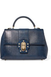 Dolce And Gabbana Lucia Lizard Effect Leather Tote Navy