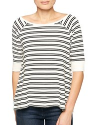 Sanctuary Striped Boatneck Top Milk Black