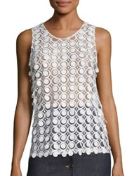 Carven Sleeveless Circle Detail Tank White