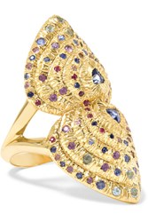 Venyx Bear Paw 18 Karat Gold Multi Stone Ring