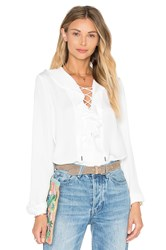 L'academie The Ruffle Boho Blouse White