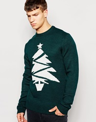 Another Influence Christmas Tree Jumper Green