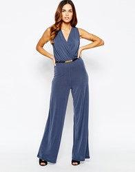 Warehouse 70S Cupro Wide Leg Jumpsuit Navy