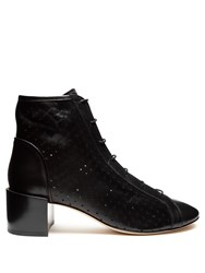 Acne Studios Mable Perforated Leather Ankle Boots Black