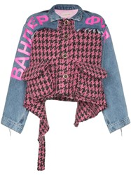 Natasha Zinko Houndstooth Panel Denim Combo Jacket Pink Light Washed