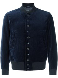 Engineered Garments Velvet Bomber Jacket Blue