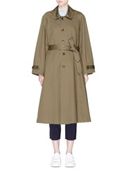 Barena 'Vaghezza' Belted Twill Trench Coat Brown