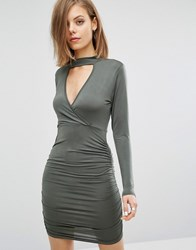 Daisy Street Dress With Keyhole Front Ruched Detail Khaki Green
