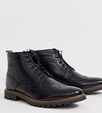 Base London Wide Fit Bower Brogue Boots In Black