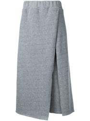 Osakentaro Ribbed Detail Skirt Women Wool M Grey