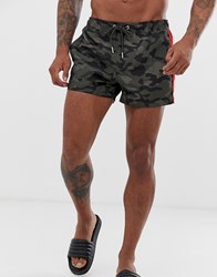 New Look Swimshorts In Camo With Side Stripe Green