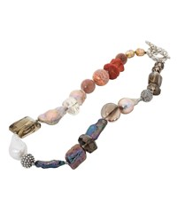 Stephen Dweck Multicolor Stone And Pearl Necklace Gold