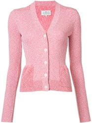 Maison Martin Margiela Ribbed Cardigan Pink Purple