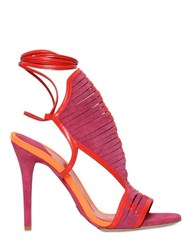 Daniele Michetti 110Mm Woven Suede And Leather Sandals