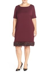 Plus Size Women's Tahari Faux Fur Trim Ponte Shift Dress