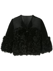 Red Valentino Cropped Shearling Jacket Black