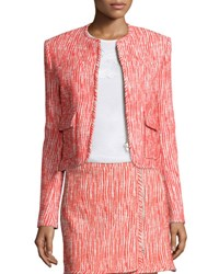 Carven Cropped Tweed Zip Front Jacket Poppy Coquelicot